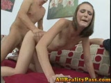 Teen girlfriend fucked on couch while bf helps