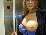 MILF slut rubs her huge knockers on a dudes dick
