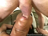 Black bitch gets a hard double penetration fuck