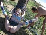 Disgraced teen hitchiker tied to a tree and fucked