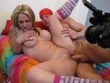 Guy films his big tit girlfriend fucking his buddy