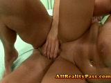 Lizzys BIG tits jiggle while she gets stuffed