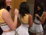 Horny cheerleader suck cock in the locker room