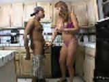 Mamma jerks off sons black friend in the kitchen!