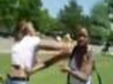 Chick fight in front of the skool