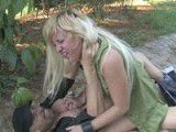 Busty blonde fucked in several public places