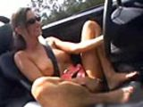 Chick masturbating while driving 60 MPH