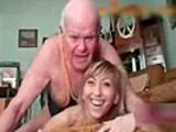 Girl can't stop laughing while grampa tries to fuck her