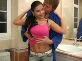 Busty latina having great sex in the bathroom
