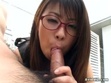 Japanese Mimi Kousaka Gives Blowjob And Takes Jizz On Her Glasses