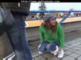 Brunette Sucks Cock At The Train Station  ...