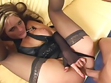 Tall babe fucking in stockings and stiletto heels