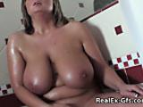 Huge boobed babe Masturbates