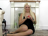 Busty British Amy Anderson squats on her vibrator and cums