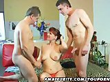 Amateur Milf in a FMM threesome with cumshot