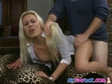 Cute blonde babe takes it hard in her cunt