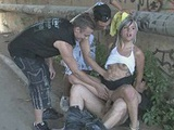 Blondie gets fondled by strangers during public sex