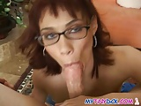 Horny chick gets a facial with her glasses on