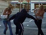 Dude runs around pulling innocent girls' tops down