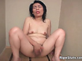 Mosaic: Mature Asian bitch masturbates