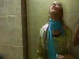 Naked European Girl On Disco Toilet