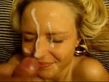 Busty blonde gets a big facial