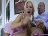 Older guy and younger babe fuck and cumshot