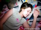 Girl plays with dildo