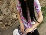 Shy brunette girl Timea in black pantyhos ...