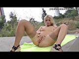 Nasty blonde sucking outdoors