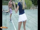 Busty Blonde Katie Summers Fucks Tennis Instructor On Court