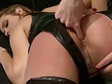 Rough anal for cute lesbian slave