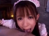 Asian Maid Giving Blowjob For Guy On The Couch In The..