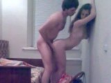 Amateur couple fuck standing up