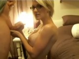 Busty blonde in glasses gets fucked