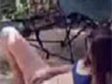 Teengirl caught fingering outdoor