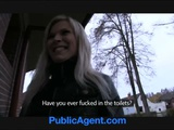 PublicAgent Sexy Blonde Fucked In Public Toilets For Cash