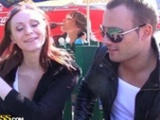 Amazing Redhead Girls Blows Two Guys At The Park In..