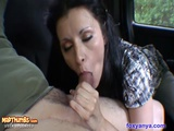 Foxy Anya Gives Back Seat BJ And Swallows Cum