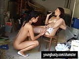 Busty teen Ellis gets pussy toyed by a lesbian