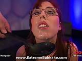 Busty bukkake babe Fiona loves to get jizz on her glasses