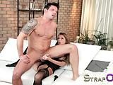 StrapOn Tattooed guy is pegged by his sexy girlfriend