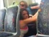 Girls caught eating pussy in train