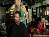 Femdom Cfnm Babes Punish Dude In Salon