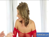 Cutie masseuse sucks off clients cock