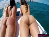 Hot BFFs boat party leads into group sex