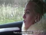 Beautiful Euro blonde bangs in the car