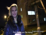 Fake agent bangs blonde outdoor at night