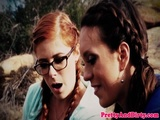 Redhead babe analized while straponfucked