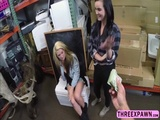 Lovely hot lesbian couple willing to try cock threesome in the pawnshop